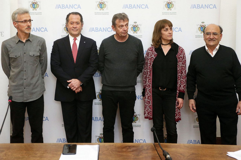 XABIER QUIROGA, Juan Carlos Escotet, Pierre Lemaitre, Sara Mesa y Ubaldo Rueda - FOTO: Fundación Abanca