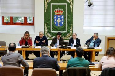 Por la izquierda, la concejala lucense Ana Prieto, Touriño, Gonzalo Caballero, Leiceaga y Alain Cuenca - FOTO: FERNANDO BLANCO