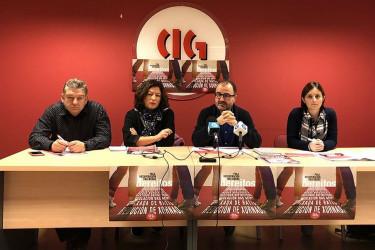 Representantes de la CIG durante la rueda de prensa de este lunes - FOTO: CIG