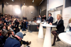 COPENHAGUE (DINAMARCA), 22/01/2018.- El expresidente de la Generalitat de Cataluña, Carles Puigdemont, durante su discurso en inglés hoy en la Universidad de Copenhague, en su primera salida de Bélgica desde que huyó de España, en el que ha afirmado que