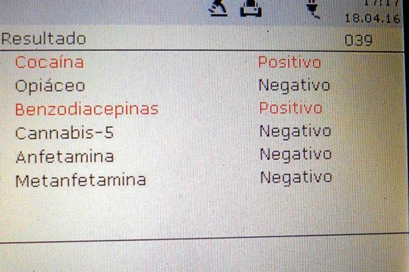 Imagen del resultado de un control de drogas hecho en Boiro, positivo en cocaína y benzodiacepinas - FOTO: P.L.B.