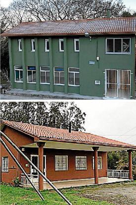 Arriba, la antigua escuela unitaria de Carreira y abajo la de Romelle, en el municipio de Zas - FOTO: Diputación Coruña