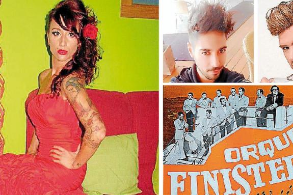 Laura Añón y los vocalistas Jako PS y Christopher Rodríguez. Abajo, derecha, la antigua Orquesta Finisterre - FOTO: C.G.