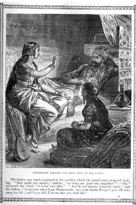 Sheherazade contando su primera historia al Sultán, por John Dawson Watson. He ahí el arquetipo perfecto de narrador oral. Un ejemplo árabe que ha trascendido a occidente con extraordinaria fuerza