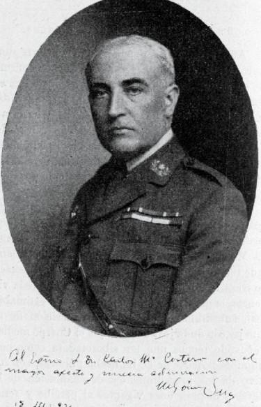 Mariano Gómez Ulla. Foto dedicada al Dr. D. Carlos M.ª Cortezo