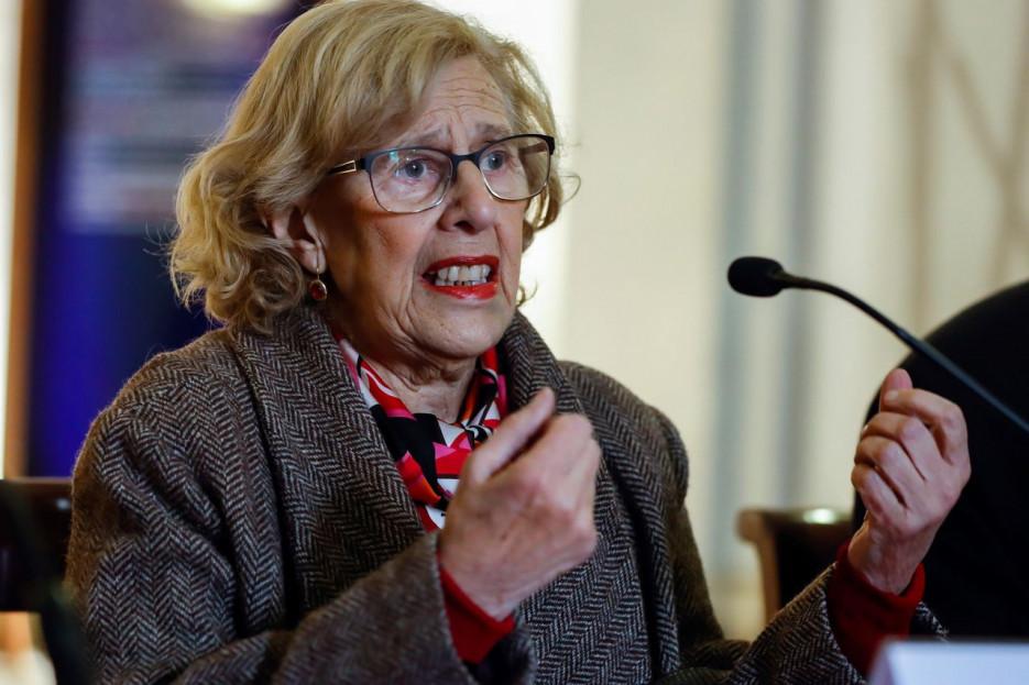 MADRID, 19/03/2018.- La alcaldesa de Madrid, Manuela Carmena, hablando este lunes de los disturbios de Lavapiés - FOTO: EFE/Emilio Naranjo