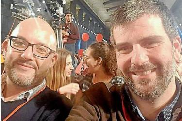 Selfie de Martín Seco, a la derecha, el domingo en la Escuela de Buen Gobierno del PSOE.