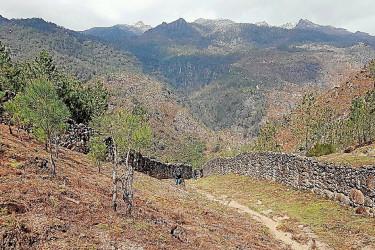 Muros de piedra que llevaban a los lobos al foso de Fafião