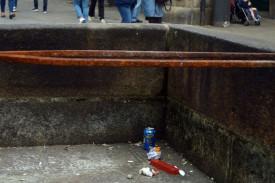 La fuente de O Toural, sin agua y con basura