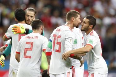 Kazan (Federación de Rusia), 20/06 / 2018.- Jugadores españoles celebran el triunfgo ante Irán - FOTO: EFE/EPA/ROBERT GHEMENT