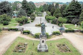 Perspectiva del Campus Sur, en la Universidade de Santiago de Compostela, desde el mirador central de la Alameda