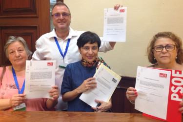 De Frutos, tercera izquierda, con otros impulsores de la nueva propuesta no de ley para ampliar benefcios. - FOTO: PSOE