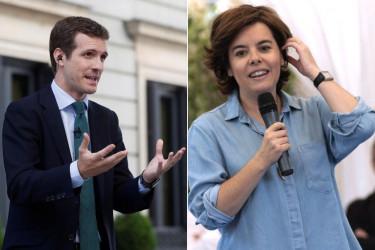 Pablo Casado hoy en el patio del Congreso y Soraya Sáenz de Santamaría durante un acto en Toledo - FOTO: EFE