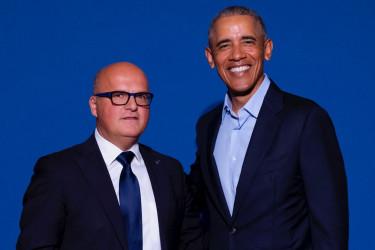Pie Manuel Baltar con Barack Obama en la cumbre sobre economía circular en Madrid - FOTO: ECG