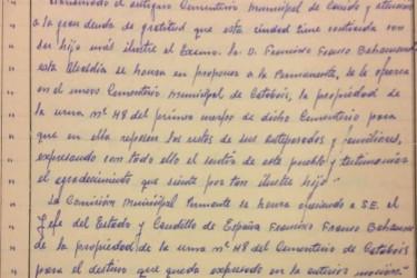 """El escrito puntúa que la entrega se hace para """"uso de familia y antepasados""""  - FOTO: ECG"""