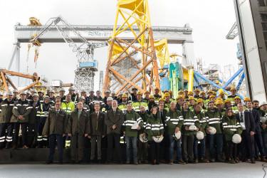 Navantia entrega los primeros 'jackets' para el mayor parque eólico marino del mundo