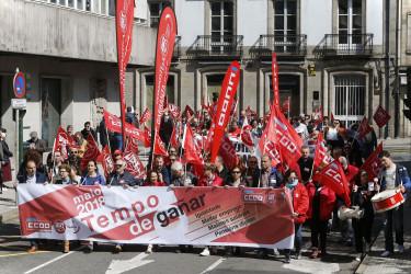 Manifestaciones del primero de mayo en Santiago y A Coruña
