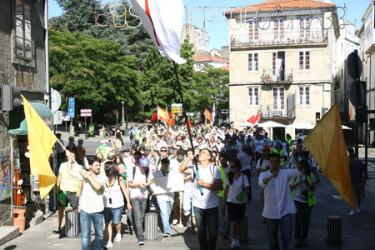 Peregrinación de jóvenes cristianos a Compostela