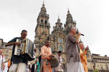 Procesión hindú en Santiago