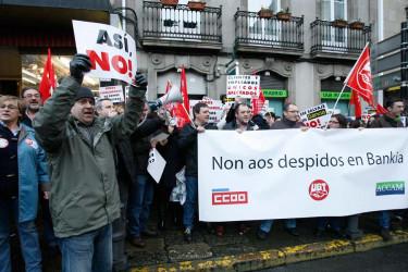 Traballadores de Bankia protestan en Santiago