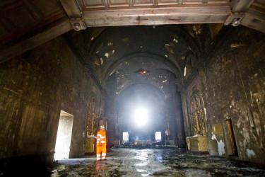 Incendio en el Santuario de la Virxe da Barca de Muxía