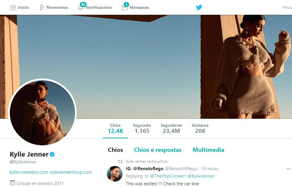 Perfil de Twitter de Kylie Jenner