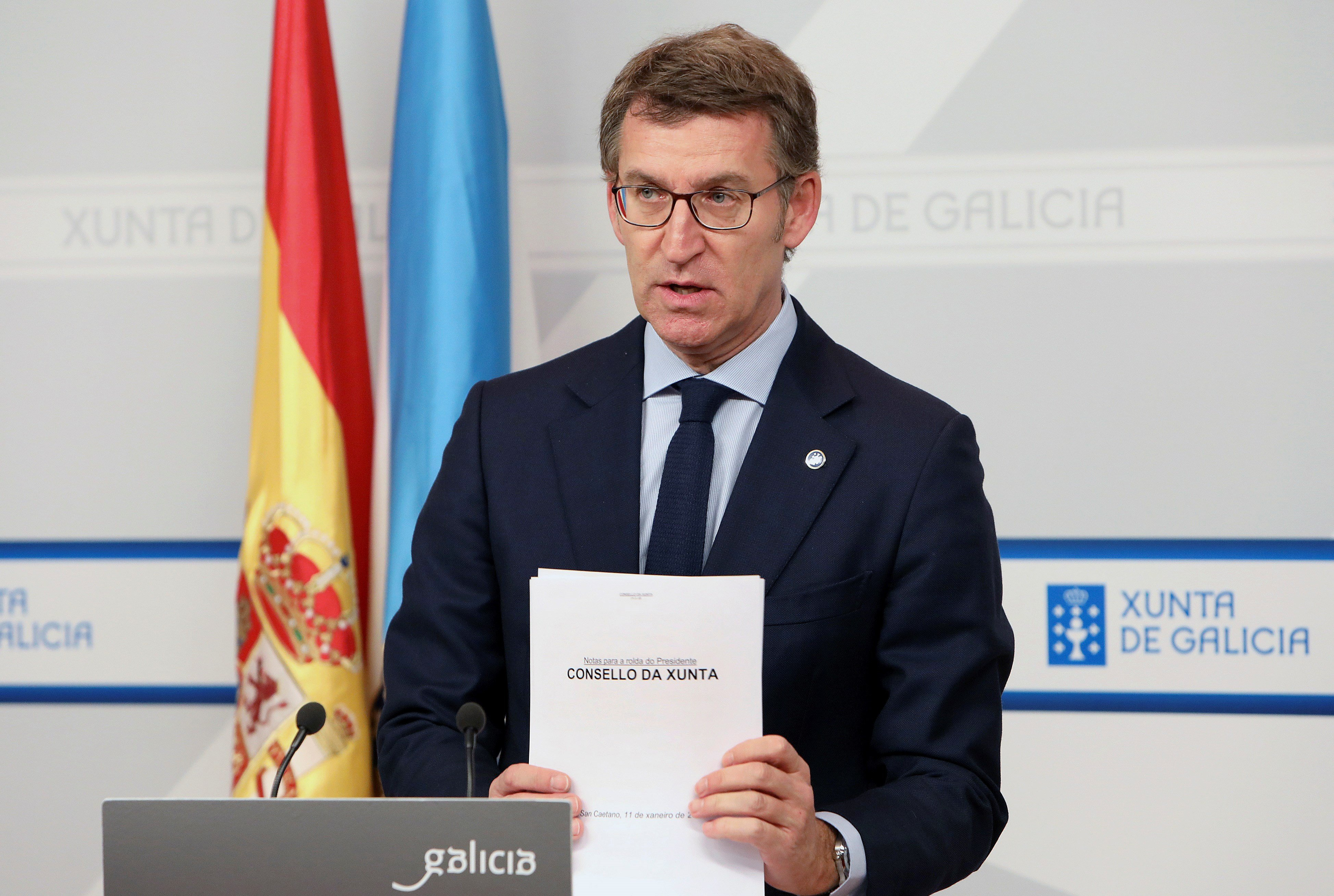 El presidente de la Xunta de Galicia, Alberto Núñez Feijóo, durante la rueda de prensa posterior a la reunión del primer Consello del año  - FOTO: EFE