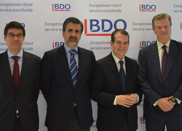 LOS SOCIOS de BDO Galicia Jorge Montoya y Pelayo Novoa,izquierda, Caballero y Alfonso Osorio, líder de BDO España - FOTO: ECG