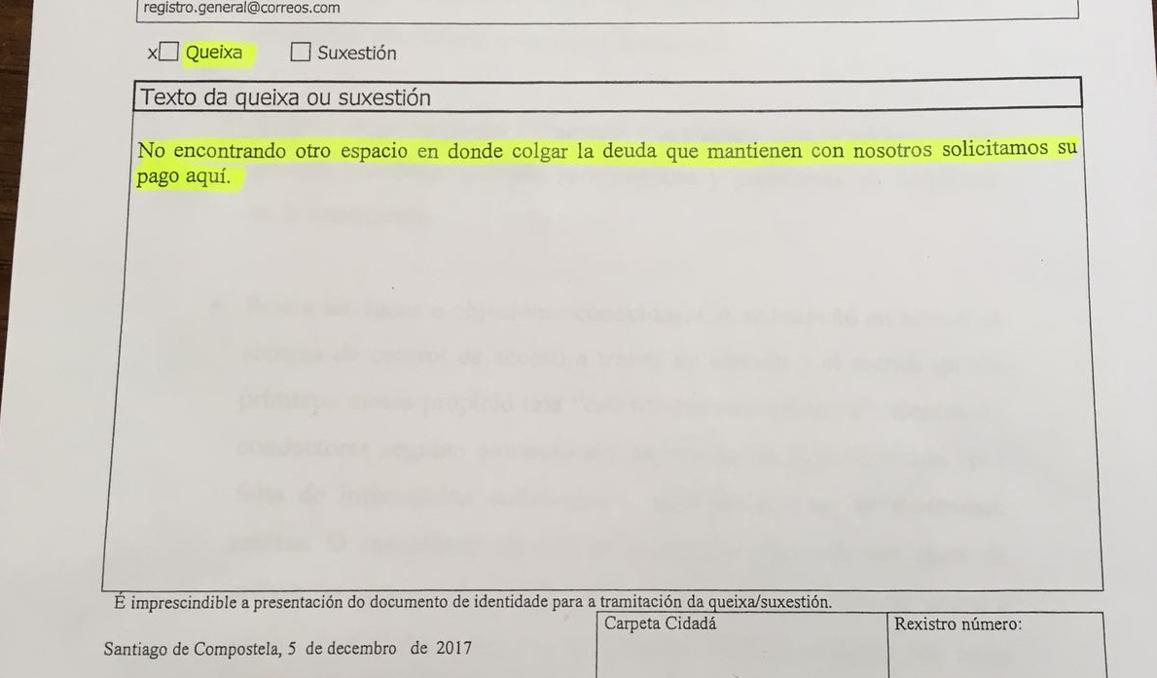 Reproducción de la queja presentada ante la comisión municipal para su resolución.  - FOTO: ECG