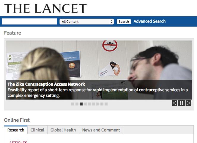 Captura de pantalla de la página web de The Lancet - FOTO: http://www.thelancet.com