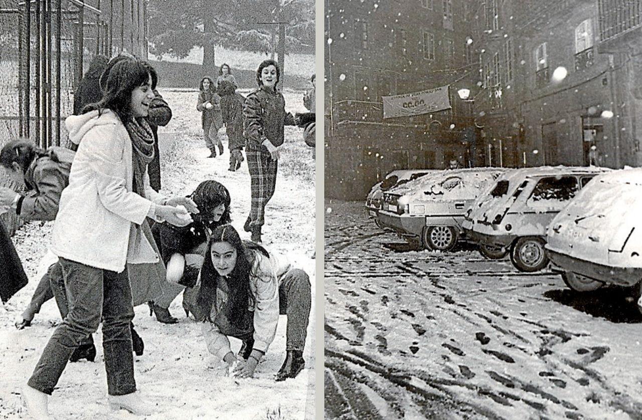 Dos instantáneas de las grandes nevadas de 1983 (izq.) y 1987 (dcha.) en la capital de Galicia - FOTO: Archivo ECG