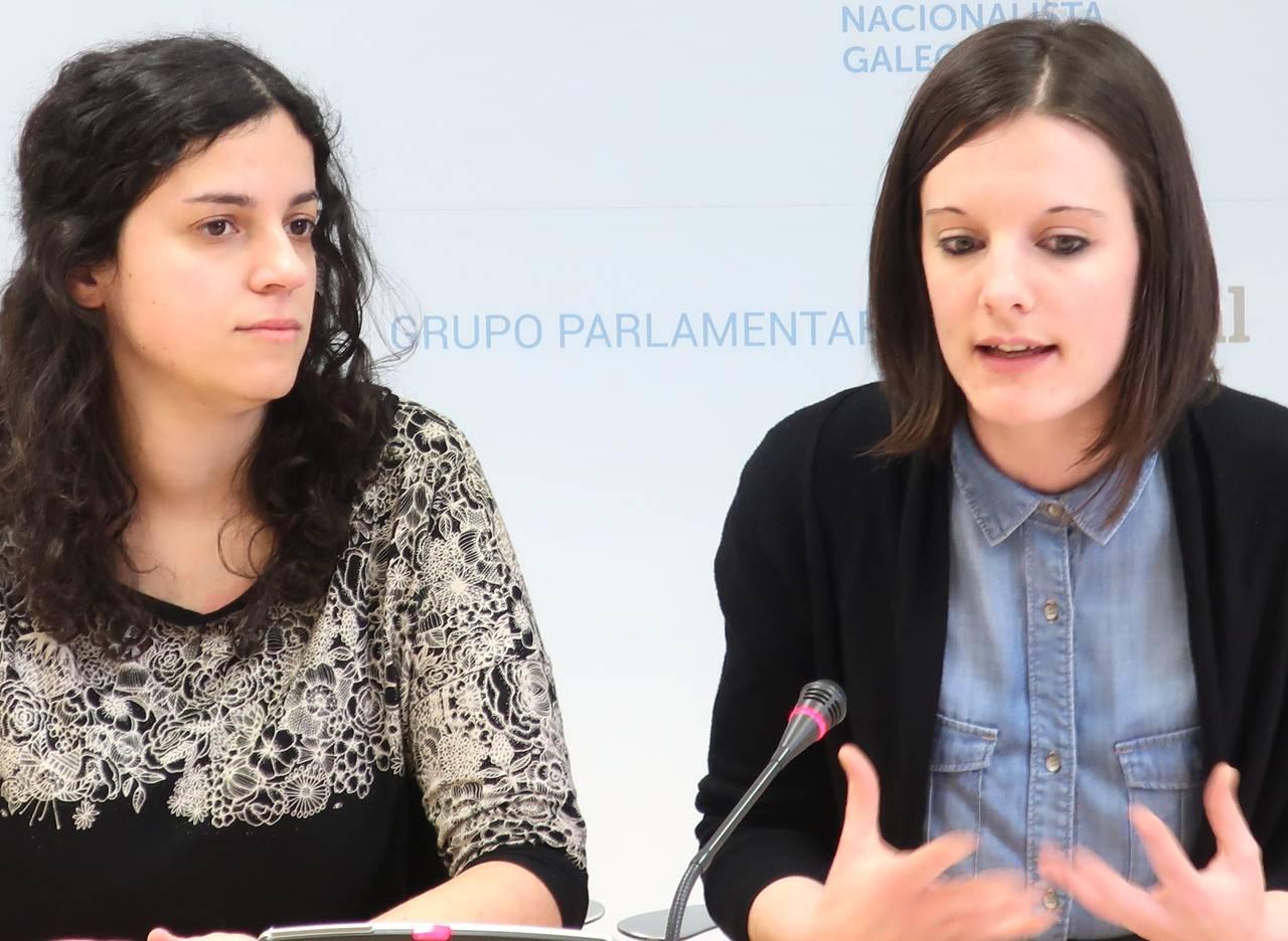 Las diputadas del BNG Noa Presas, izquierda, y Olalla Rodil, ayer en rueda de prensa