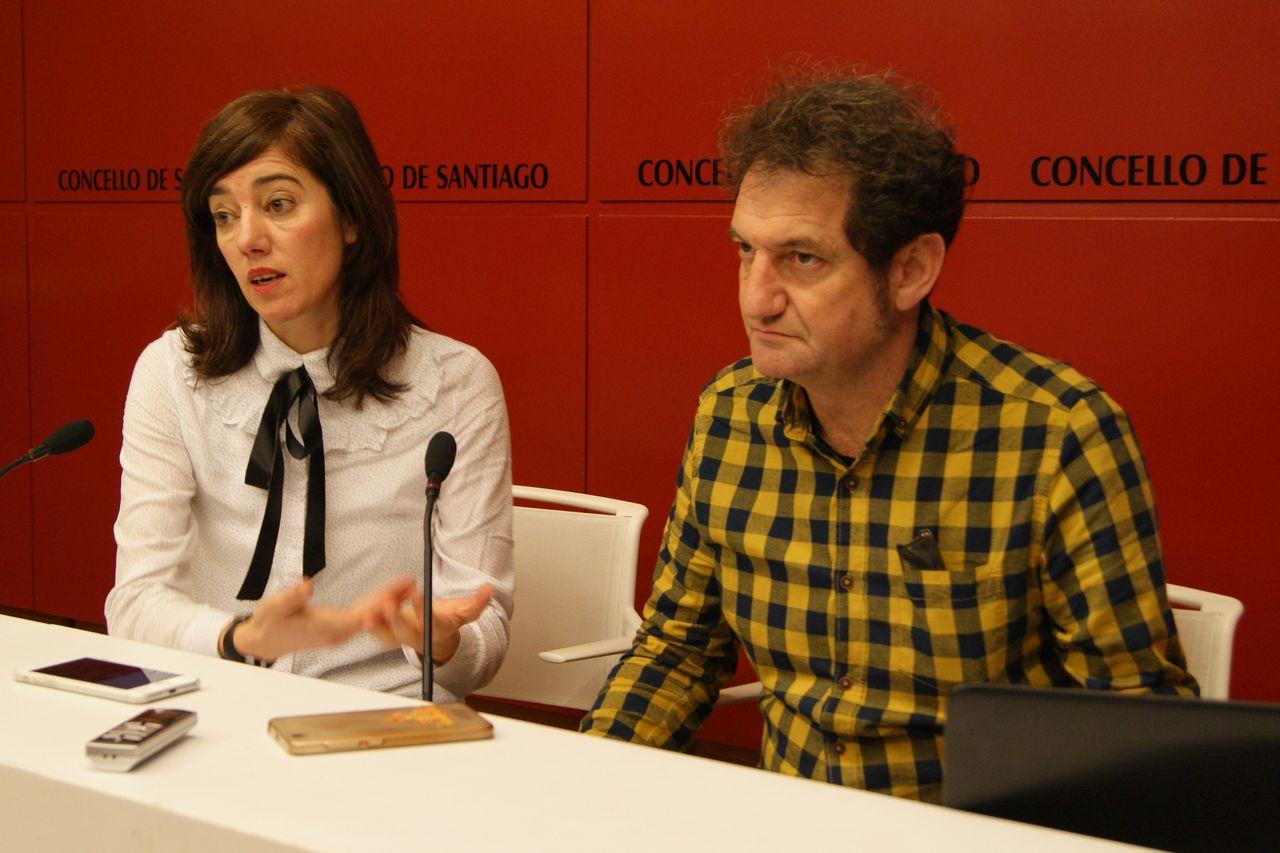 Os concelleiros Marta Lois e Jorge Duarte durante a presentación do estudo - FOTO: CDS