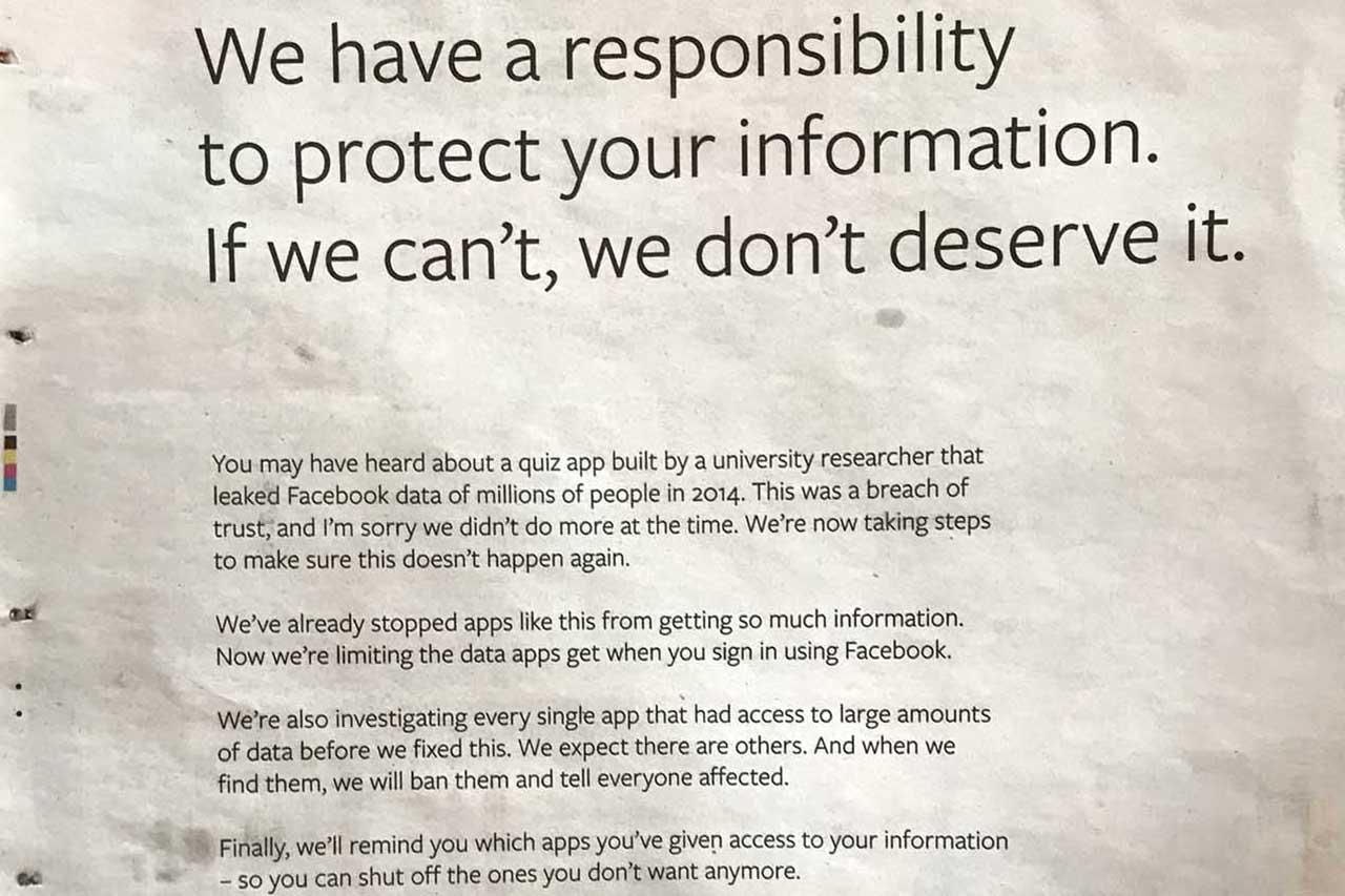 Fotografía do anuncio publicado en The Observer compartida a través de Twitter - FOTO: Donie O'Sullivan