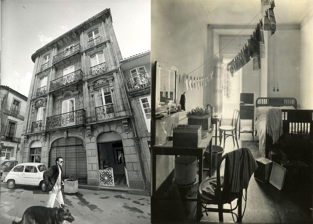 Fachada del Hotel Suizo en la rúa Cardenal Payá, izquierda, y una de las habitaciones del establecimiento